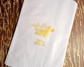 Gold Stamped Glassine Bag, Little Prince and Crown, Fairytale, Royal Baby Shower, Gift Bags,  Favor Bags set of 10