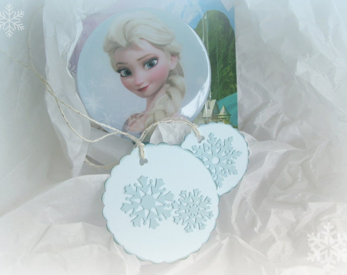 Round Snowflake Gift Tags, Frozen, Elsa, Scalloped Edge, Blue Paper, Aged Edges, Silver Ties set of 6
