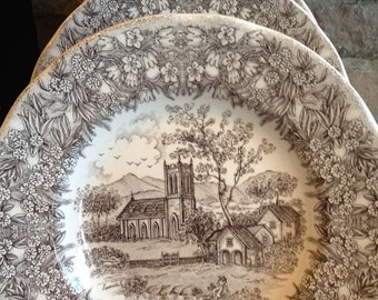 Vintage Brown Transferware Bowl by Nevco Italy Ironstone Signed - #4304