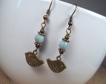 Antique Bronze Amazonite Bird Dangle Earrings
