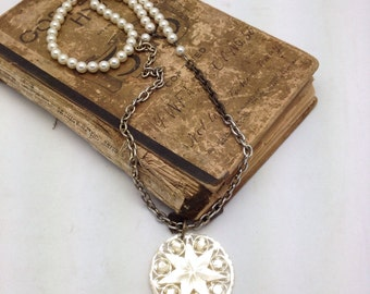 Mother of Pearl Pendant with Mixed Brass Chain and Pearl Necklace vintage assemblage repurpose necklace