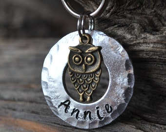 Pet ID Tag/Tags / Dog Tag / Dog Collar Tag / Personalized / Pet Charm / Keychain / Hand Stamped / Owl