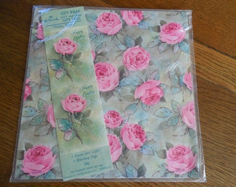 Vintage Hallmark Easter Wrapping Paper + Tage  Pink Roses