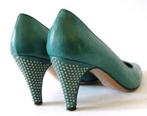 80's BRUNO MAGLI Teal Studded Leather Shoes Heels -Size 5B