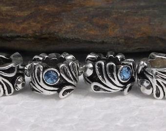 11 Tibetan Blue Rhinestone Beads