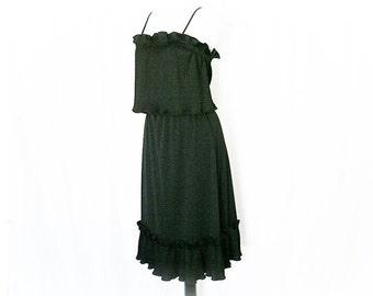 Vintage 70s Dress Black Layered Pleated Ruffled Bohemian Festival S M