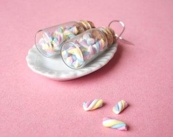 Marshmallow Earrings Mini Bottle Earrings ( food earrings miniature food gift for her polymer clay jewelry miniature bottle mini food)