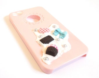 iPhone 5 Cover Food Miniature ( iPhone 5 5S phone cover cute cover polymer clay whipped cream gift for her cupcake bow chocolate colorful )
