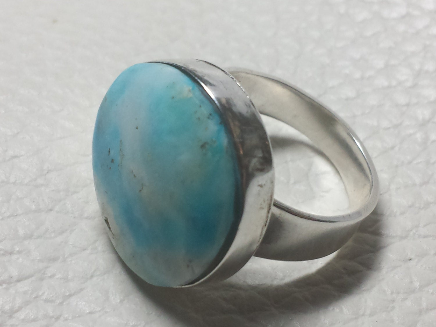 Andean Opal 950 Silver Ring Size 7 1 2 Peruvian Opal Round
