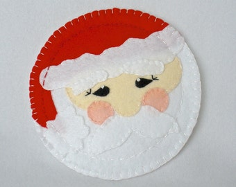 Felt Christmas Cookie Plate,  Felt Santa Claus Plate, Handmade Cookies For Santa Decor