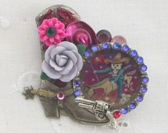 DAY of the DEAD Jewelry - Caballero -  Cowboy Boot  BROOCH -   Jeweled Bottle Cap