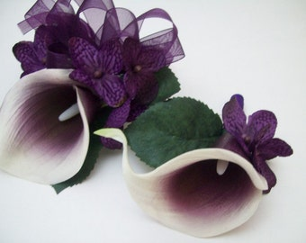 Purple And White Natural Real Touch Picasso Calla Lily WRIST Corsage and Boutonniere Set Wedding Prom Flowers