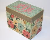 Recipe Box, Burlap Recipe Box, Aqua Kitchen, Teal and Coral, Floral Recipe Box, 4x6 Wooden Recipe Box, Recipe Organizer