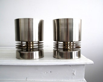 1980's Metal Light Set - Chrome Lighting - Pair of Lamps - Bedside / Reading / Desk Lamps