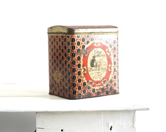 Vintage Metal Tin - Colorful Metal Box with Retro Art Deco Design