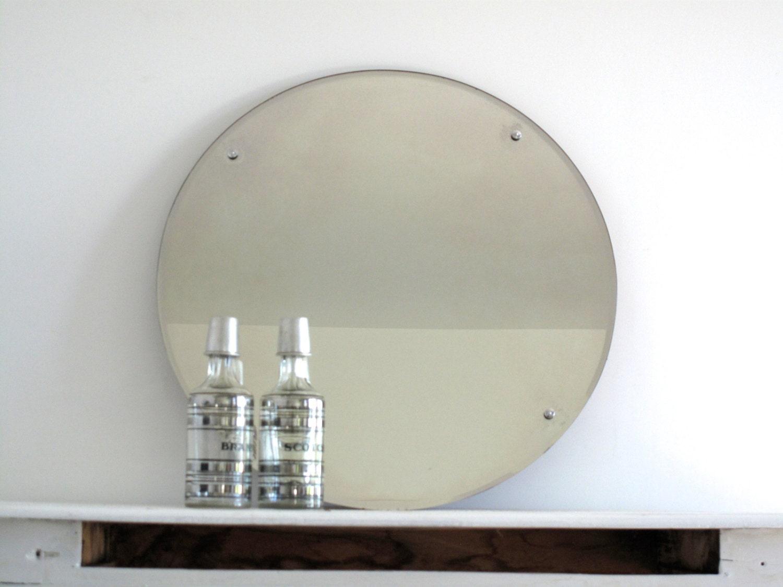 vintage large round wall mirror with metal by snapshotvintage. Black Bedroom Furniture Sets. Home Design Ideas