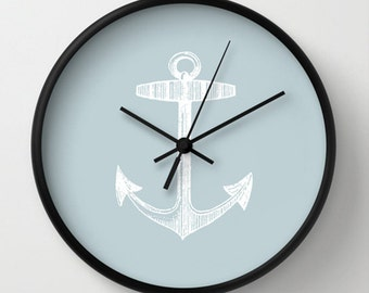 Anchor Wall Clock - Choose Your Colors Wall Clock - Baby Blue White - Original Design Bedroom Living Room Nursery - Home decor by Adidit
