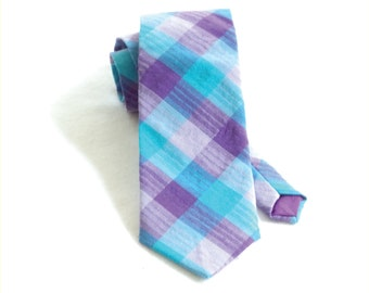 Bright blue plaid necktie