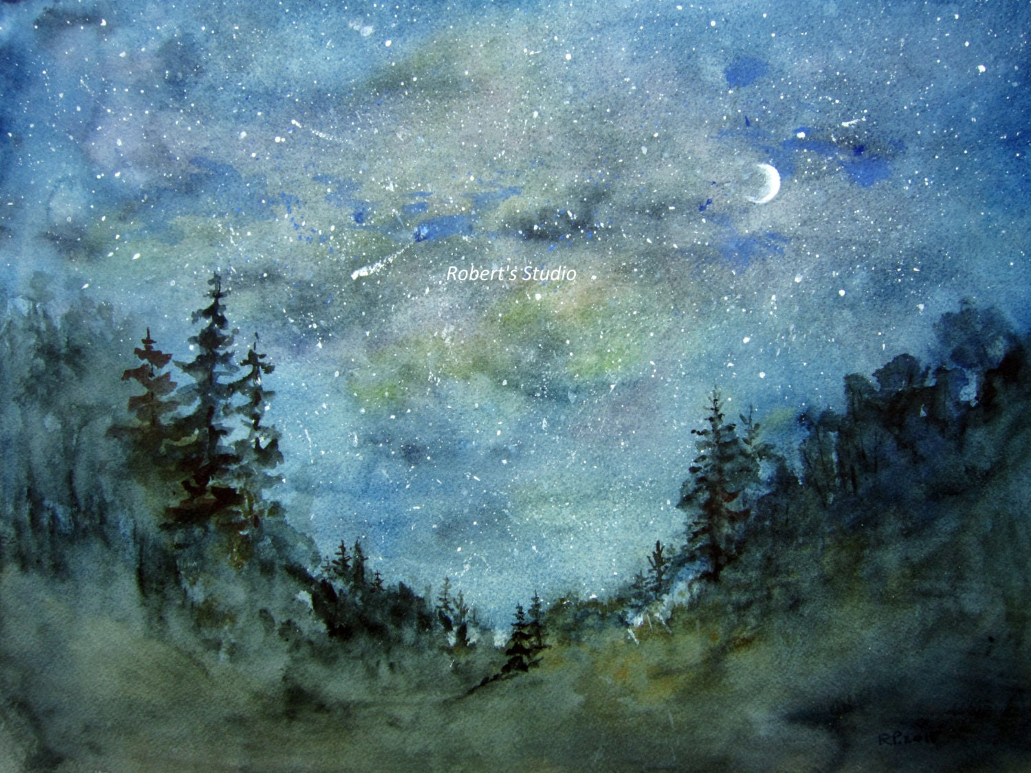 Original watercolor landscape painting night sky watercolor for Watercolor painting images