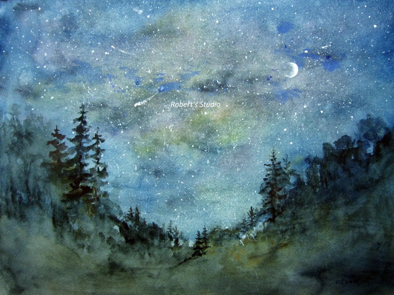 Original Watercolor Landscape Painting Night Sky Watercolor