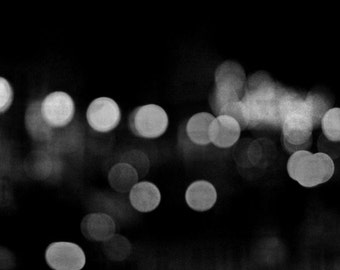 Abstract Light Photography, Bokeh City Lights, Black White Modern circles Print, Sparkles Night Lights, Gray Photograph, Prague at Night
