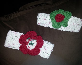 Crocheted holiday Baby Headbands with flower