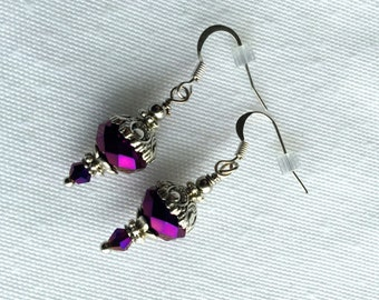 Purple Earrings, Amethyst Crystal And Silver Dangle Earrings