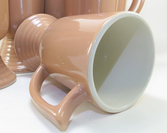 Vintage Taupe Footed Irish Coffee Cups, Mugs Tapered Ribbed Foot, Footed Coffee Mugs, Footed Cups, Spanish Coffee Mugs, Coffee Nudge Cups