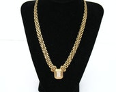 Rhinestone Necklace * 60s Necklace * 1960s Necklace * 60s Choker * Gold Tone Necklace * Braided Chain Necklace