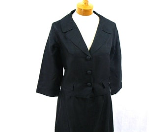 1960s Black Silk Suit * 60s Suit * Silk Suit * Black Suit * Mod Suit *  Mad Men Suit * Large