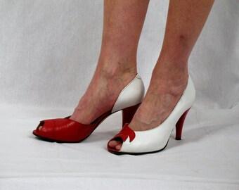 70s Bandolino Heels * Red and White Heels * High Heel Stilettos *  Bloomingdales Heels  * Leather Heels