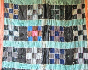 Vintage Antique Strip Patch Quilt - Beautiful Color Arrangement