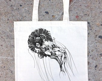 Jellyfish Tote Bag - Screen Printed Tote Bag - Cotton Canvas Tote