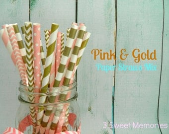 Pink and Gold Mix Paper Straws- Pack of 25