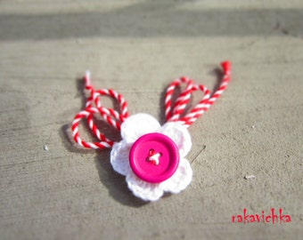 Martenitza Flower Brooch Pin Crochet Baba Marta White Spring Blossom Pink Orange Colored Wood Buttons by dodofit on Etsy