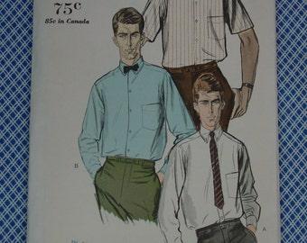 Vintage Pattern c.1960's Vogue No.5710 Men's Shirt Size 15 1/2, Uncut