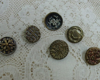 6 Antique Metal Buttons, Each Different, Nice