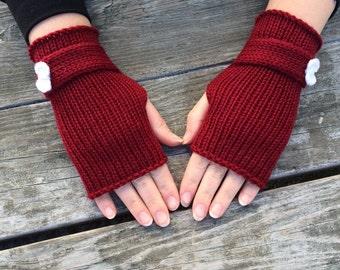 Bow Gloves,  Fingerless Gloves, Knit Fingerless, Red Gloves, Wrist Warmers,  For Women, Women's Gift