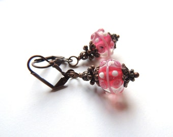 Crimson Lampwork Earrings. Antique Copper Earrings. Small Dangle Earrings. Handmade Earrings. Handcrafted Jewelry.