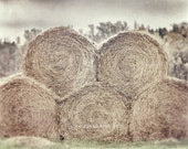 Farmhouse Decor, Rustic Country Decor, Country Decor, Hay Bales, Hay Rolls, Beige, Tan, Rustic Farm Photograph, Hay Picture, Brown Vintage.