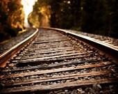 Railroad Photography, Train Tracks Landscape, Masculine Art, Office Decor, Rustic Brown, Vertical, Artwork for Men, Brown Living Room Art.
