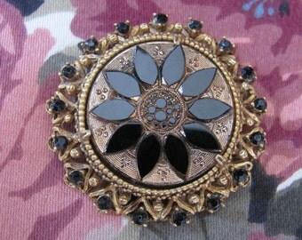 Vintage Florenza Brooch Black Enamel Pin