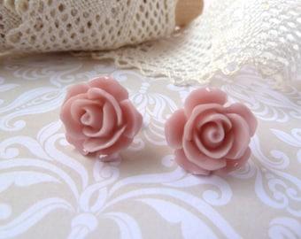 Pink flower earring stud - cabochon, rose, earrings, salmon