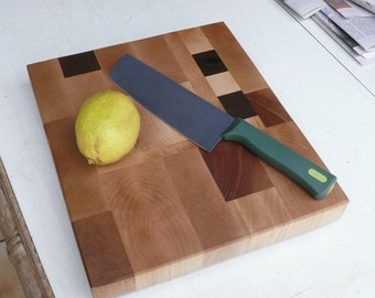 End Grain Cutting Board, Maple, Walnut & Cherry - Kitchen Accessory - Hand Made