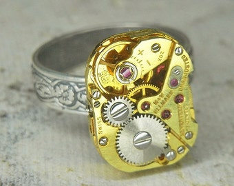 Women's Steampunk Ring Jewelry - Torch SOLDERED - GOLD ULLMANN Watch Movement & Floral Band - Adjustable - Bright and Elegant