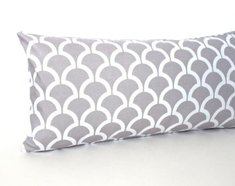 Lumbar Pillow Cover Grey White Geometric Decorative Accent Oblong Throw Pillow Cover 12x24 12x21 12x18 12x16 10x20