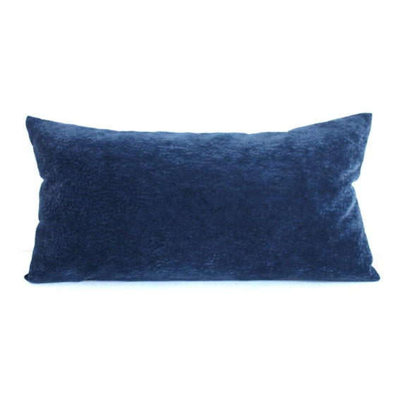 Lumbar Pillow Blue Pillow Oblong Faux Suede By Couchdwellers