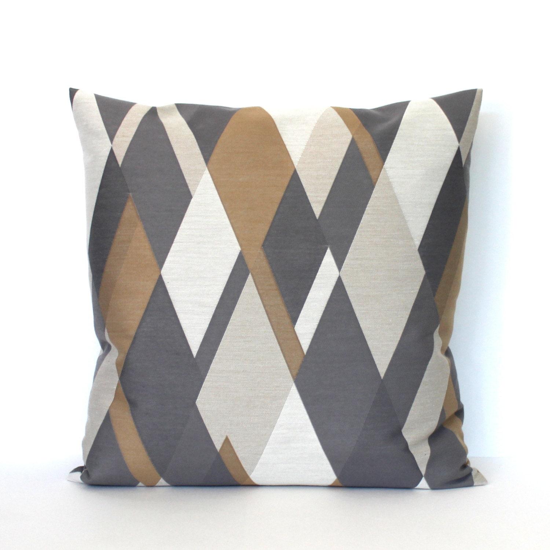 decorative 18x18 grey brown pillows geometric diamond accent. Black Bedroom Furniture Sets. Home Design Ideas
