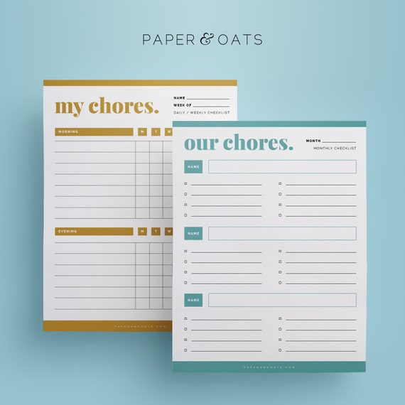 Editable Chores & Rewards Charts