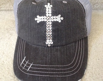 Ladies Distressed Charcoal Gray Trucker Hat